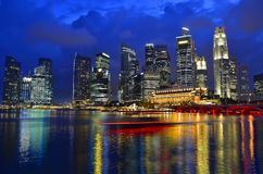 Singapore skyline and river. At blue hour Royalty Free Stock Photo