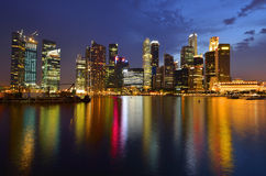 Singapore skyline and river. At blue hour Stock Images