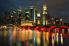 Singapore skyline and river at blue hour Royalty Free Stock Images