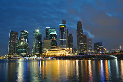 Singapore skyline and river at night Stock Photography