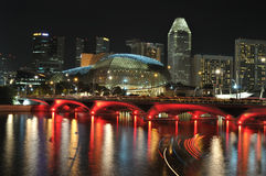 Singapore skyline and river at night Stock Photos