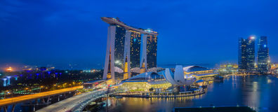 Singapore Skyline. Singapore`s business district, blue sky and night view for marina bay sand Stock Photography