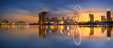 Singapore Skyline. Singapore `s business district. Singapore Skyline. Singapore`s business district, marina bay sand and the garden by the bay on sunset Stock Image