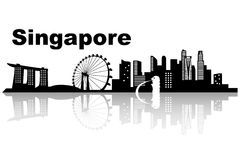Singapore skyline skyline. Black and white illustration