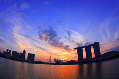 Singapore Skyline Sunrise Royalty Free Stock Images