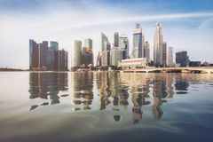 Singapore Skyline at Sunrise at Marina Bay. Singapore central business district skyline, blue sky and morning sunrise at  marina bay. Singapore city skyline Royalty Free Stock Photography