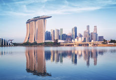 Singapore Skyline. At sunrise view from the Garden by the Bay Stock Photography