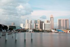 Singapore skyline during sunset. Royalty Free Stock Photos