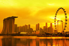Singapore skyline in sunset Royalty Free Stock Photography