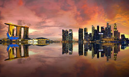 Singapore Skyline at sunset stock images