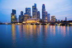Singapore Skyline at Twilight. Reflected in the harbour Stock Photography