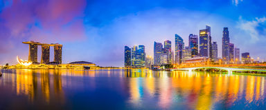 Singapore Skyline at Twilight Stock Photography