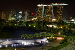 Singapore Skyline View from Marina Barrage Stock Photos