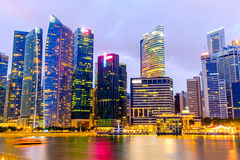 Singapore Skyline and view of Marina Bay long exposure Stock Photo