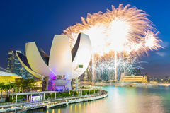Singapore Skyline and view of Marina Bay with SG50 fireworks Stock Image