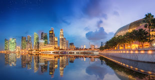 Singapore Skyline and view of Marina Bay Stock Photos