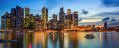 Singapore Skyline and view of Marina Bay Stock Photography