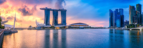 Singapore Skyline and view of Marina Bay. Singapore Skyline and view of skyscrapers on Marina Bay Stock Photography