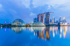Singapore Skyline and view of Marina Bay at twilight.  Stock Photos