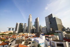 Singapore Skyline. Skyline of Singapore, with a view over financial district at Raffles Place Stock Image