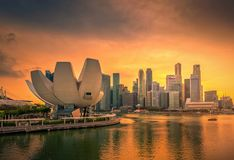 Singapore Skyline and view of skyscrapers on Marina Bay at sunset. stock photo