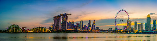 Singapore Skyline and view of skyscrapers on Marina Bay Royalty Free Stock Images