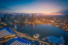 Singapore Skyline and view of skyscrapers on Marina Bay at sunse Stock Images