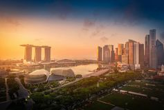 Singapore Skyline and view of skyscrapers on Marina Bay at sunsr Royalty Free Stock Photos