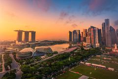 Singapore Skyline and view of skyscrapers on Marina Bay at sunsrise. royalty free stock photo