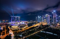 Singapore Skyline and view of skyscrapers on Marina Bay at twili Royalty Free Stock Photo
