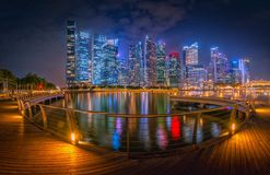 Singapore Skyline and view of skyscrapers on Marina Bay at twili Royalty Free Stock Photography