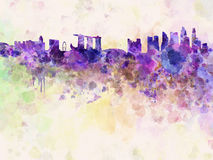 Singapore skyline in watercolor background Stock Photos