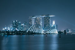 Singapore skyscaper in marina bay at night Stock Image