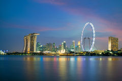 Singapore skyscapers in marina bay at night Royalty Free Stock Photography