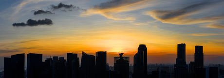 Singapore skyscrapers at sunset Stock Images