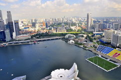 Singapore skyview theatre and sport field. Cityhall and marina bay Royalty Free Stock Photo