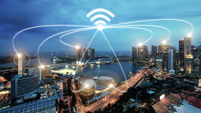 Singapore smart city and wifi communication network, smart city. And network connection concept stock photo