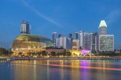 Singapore som är i stadens centrum på soluppgången, Singapore Fotografering för Bildbyråer