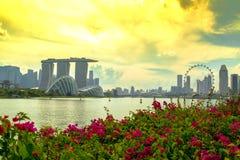 SINGAPORE STAD, SINGAPORE: September 29,2017: Singapore horisont Singa Royaltyfri Bild