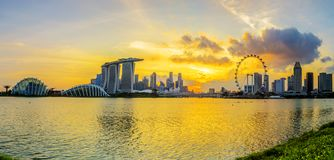 SINGAPORE STAD, SINGAPORE: September 29,2017: Singapore horisont Singa Fotografering för Bildbyråer