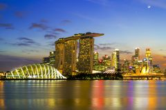 SINGAPORE STAD, SINGAPORE: September 29,2017: Singapore horisont Singa Royaltyfri Foto