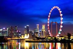 Singapore stad vid natt Royaltyfria Bilder
