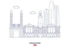 Singapore stadshorisont stock illustrationer