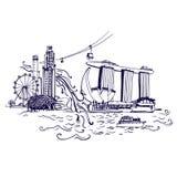 Singapore stadshorisont på den Marina Bay vektorn Arkivbild