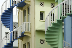 Singapore steps brightly painted shop houses Royalty Free Stock Photos