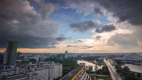 Singapore storm sky Timelapse Rooftop view stock video footage