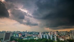 Singapore stormy sunset Rooftop timelapse stock footage