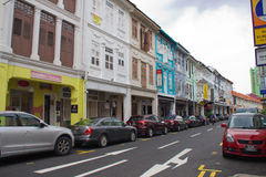 Singapore streets. Houses and cars in Singapore streets Stock Images