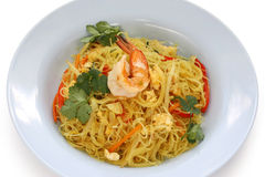 Singapore style noodles Stock Photos