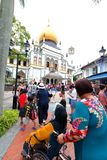 Singapore:Sultan Singapura Mosque. Tourist and crowd outside the compound of the Sultan mosque Royalty Free Stock Photos